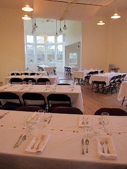 South Room as Dining Room for Caspar Harvest Dinner. Have your Event on the Mendocino Coast at the Caspar Community Center. Photo by Sienna M Potts.